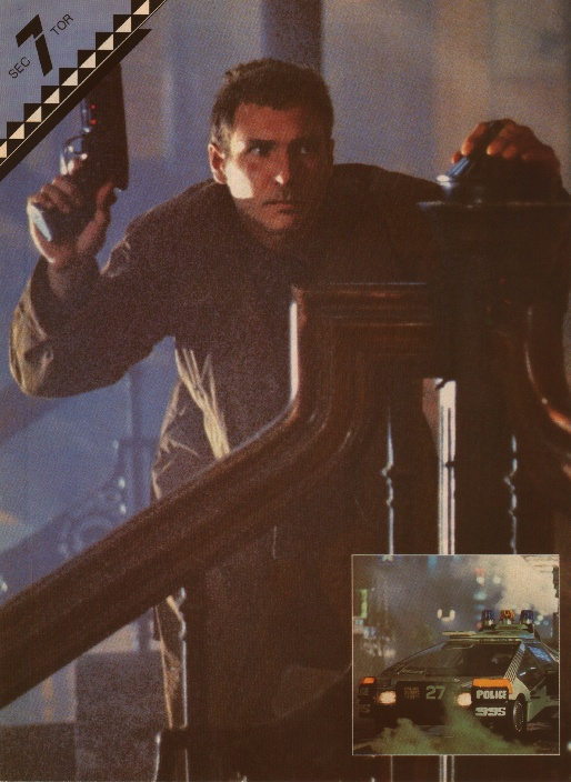 Deckard makes his way up the stairs to Sebastian's apartment in the Bradbury